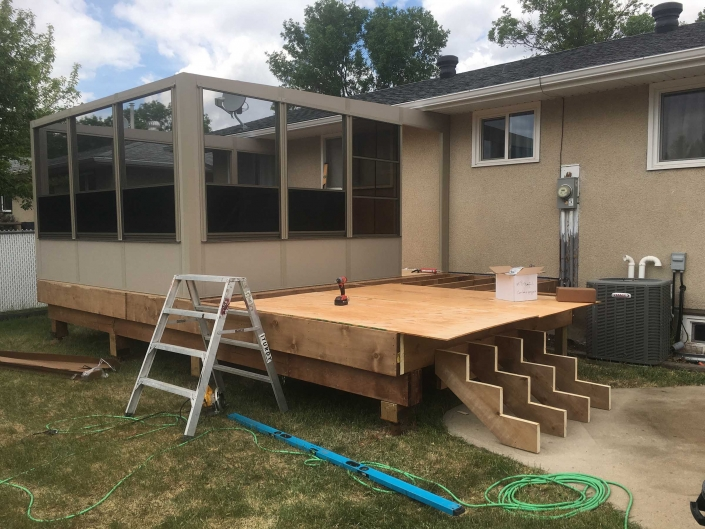 building a sunspace sunroom in regina-progress pic