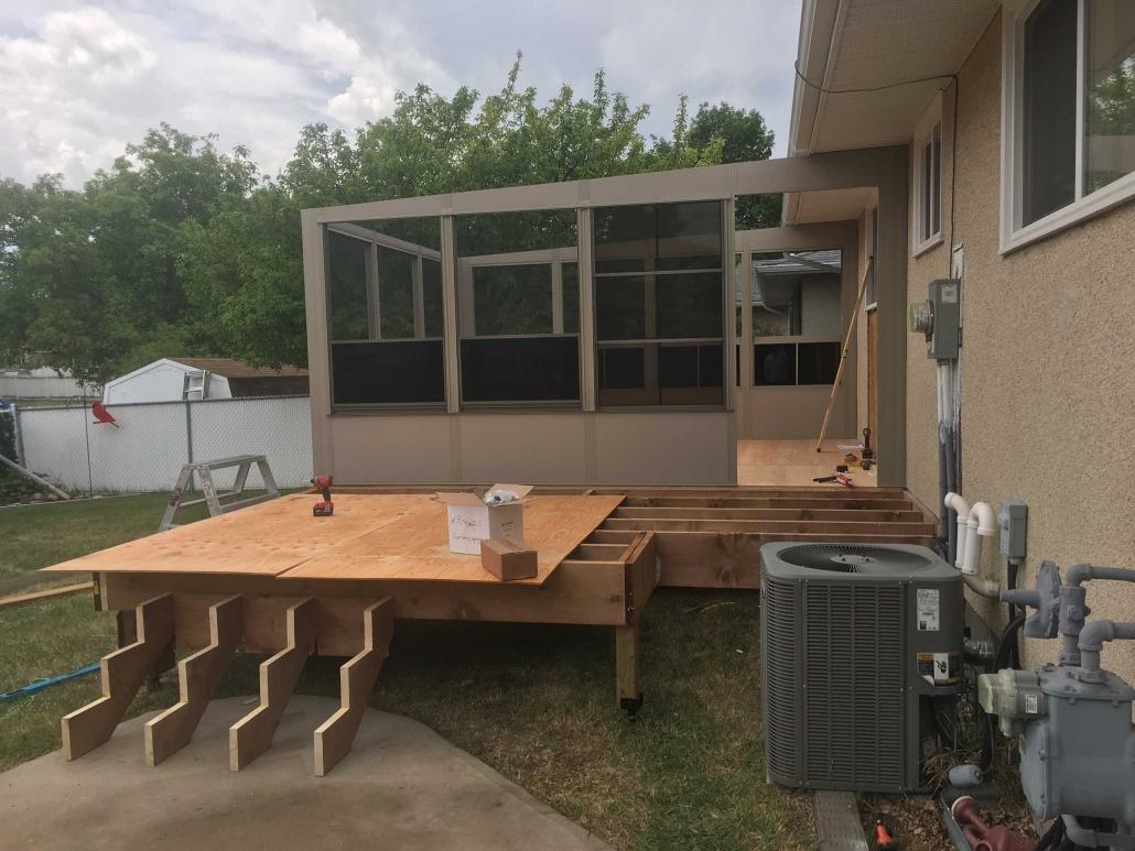 building a sunspace sunroom on a deck