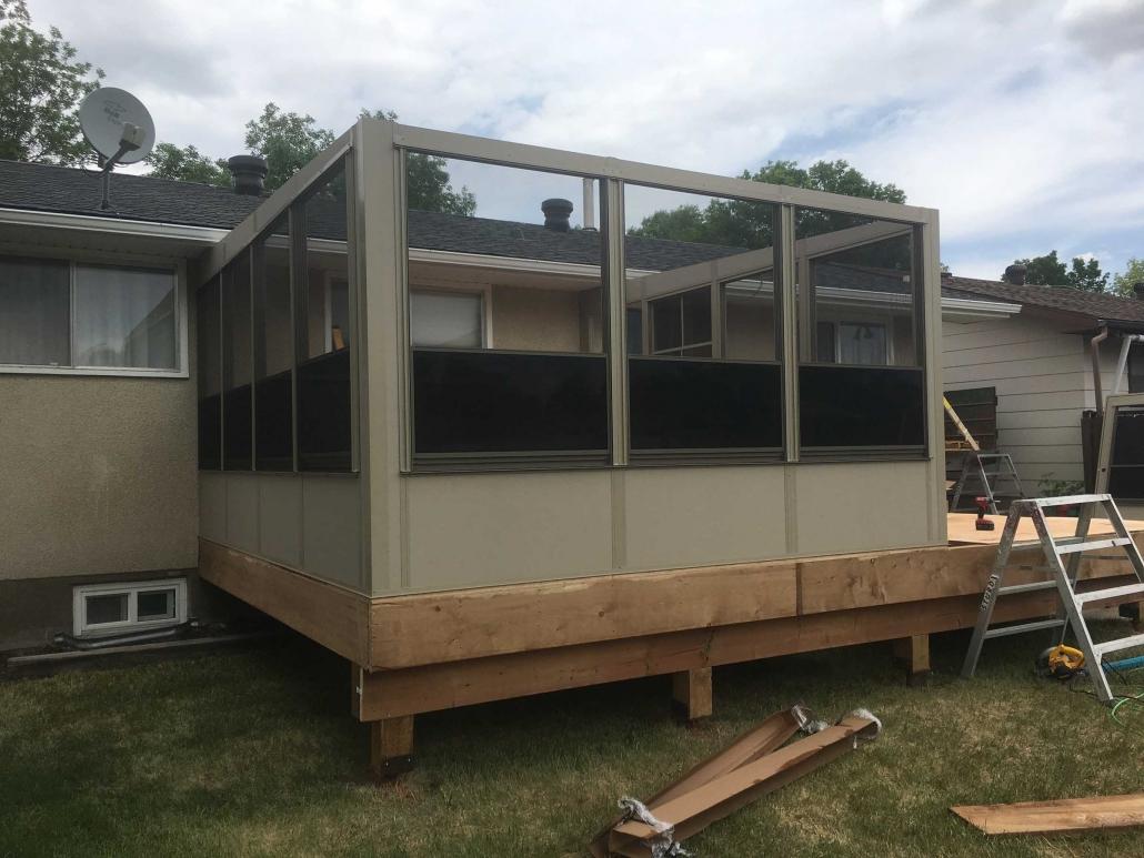 sunspace sunroom progress pic of building on deck