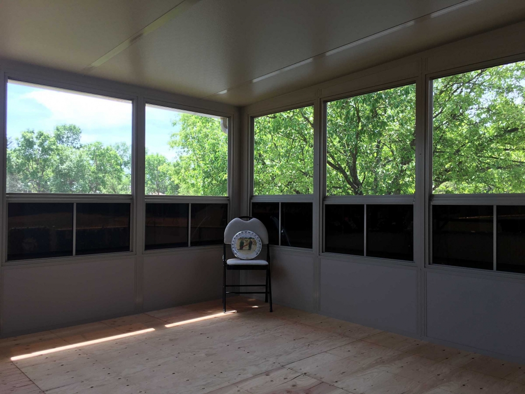 the inside of a finished sunspace sunroom